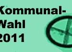 Schrift Kommunalwahl 2011 mit Wahlkreuz