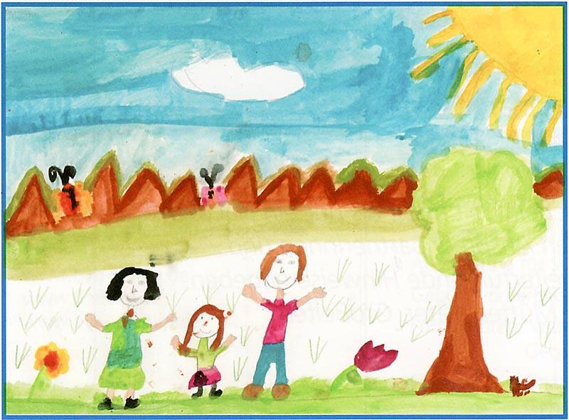 Kinderzeichnung mit Mutter, Kind und Vater