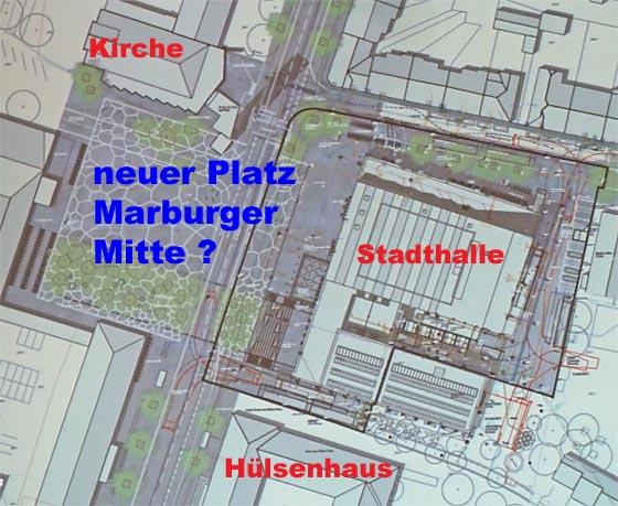 Kernbereich eines 'Stadtforum Marburg' als zentraler offener Platzbereich inmitten signifikanter Bauwerke und öffentlichen Nutzungen. Planzeichung des Landschaftsarchitekten mit Texthinweisen der Redaktion.