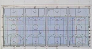 Vierfelder-Sporthalle mit markierten Nutzungsbereichen ->zur Großdarstellung anklicken