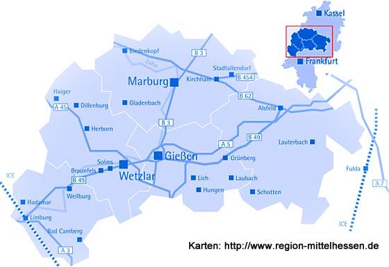 Karte Region Mittelhessen