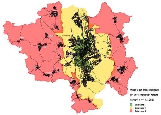 Gebietszonen Stellplatzsatzung MR