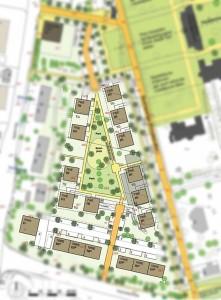 Der Bebauungsplan-entwurf soll und will offenbar Fakten schaffen. Nicht nur das Baufeld wird beschrieben, auch die Art und Anzahl der Häuser, ihre Platzierung  und vieles mehr werden bereits vorgegeben. Steckt dabei bereits ein Investor im Hintergrund? (Grundriß aus B-Plan-Entwurf im Susschnitt)