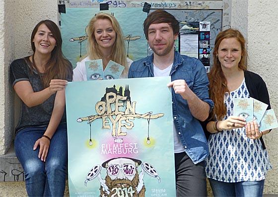 Beim 21. OpenEyes in Marburg dabei: Julia Hartmann, links, Sophia Schoeneberg, Sebastain Spors und Julia Rensing. Foto Hartwig Bambey
