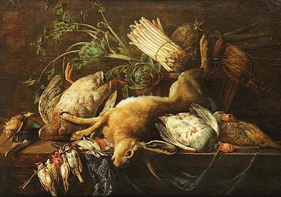 Küchenstillleben mit erlegtem Wild und Gemüse,Adriaen van Utrecht 1640.
