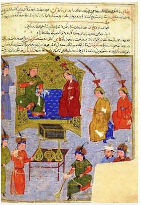 Prinz Tolui und seine Familie auf einer Miniatur aus der Handschrift Djame at-tawarikh; Herat/Iran, 15. Jahrhundert  Abbildung:  Bibliotheque Nationale, Paris