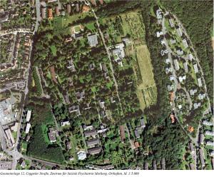 Luftbild von der Gesamtanlage Vetos, Zentrum für soziale Psychiatrie. Quelle Denkmaltopografie Marburg