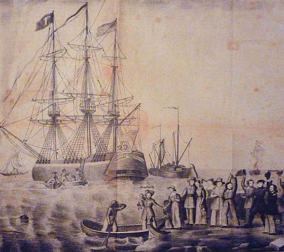 Abschied von Auswanderern in historischem Stich