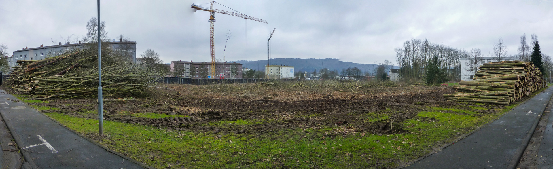 Panoramaansicht vom Vetos-Gelände nach der Rodung.