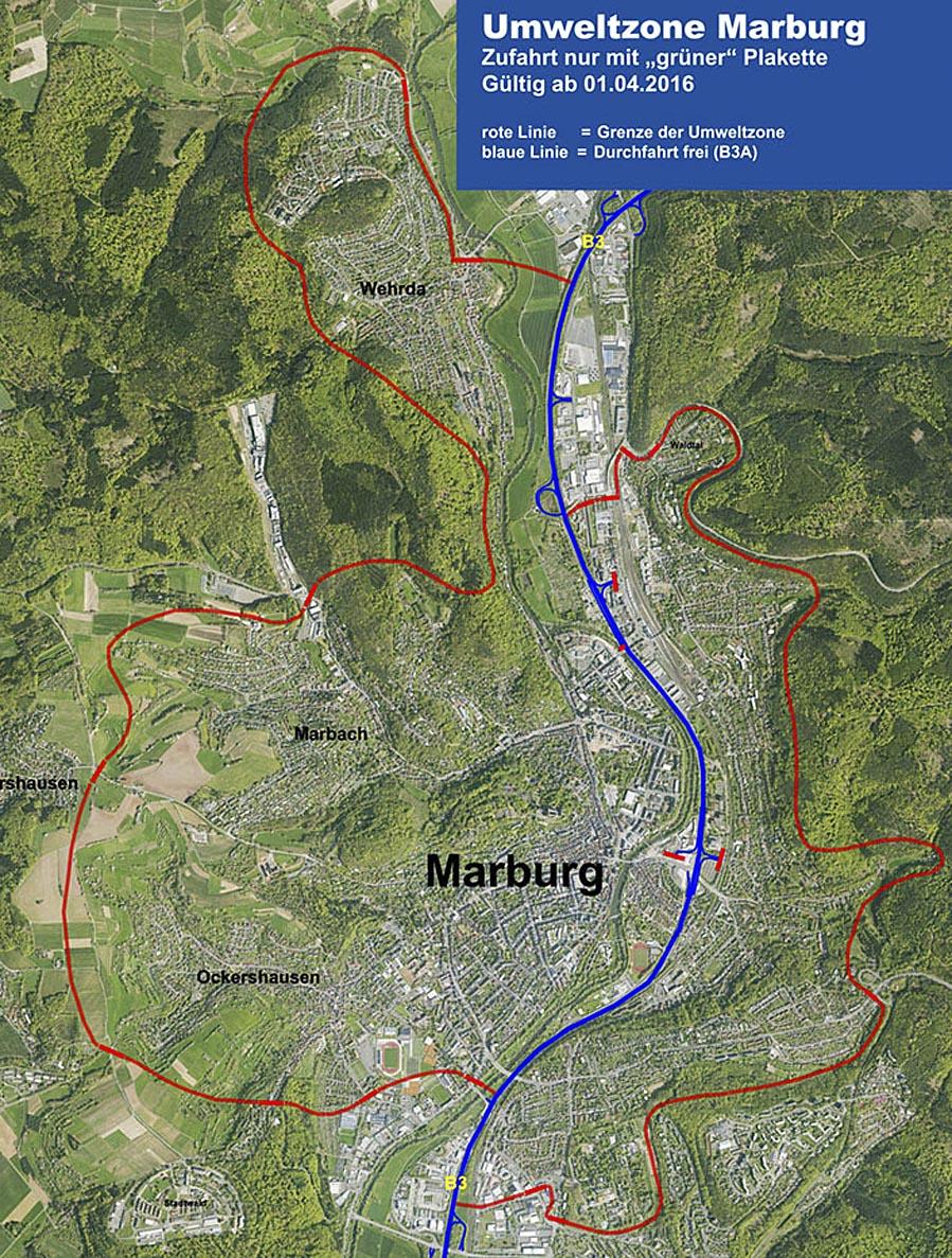Karte Umweltzone Marburg