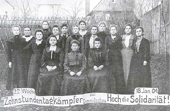 Solidaritätspostkarte zum Streik in Crimmitschau (1903/04). Quelle Wikipedia