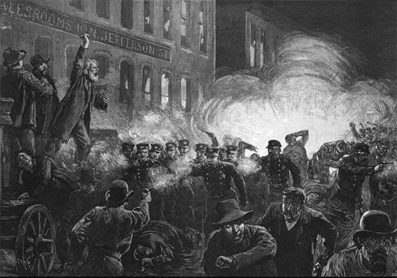 Arbeiterdemonstrationen von 1886 auf dem Haymarket. Zeitgenössische Zeichnung