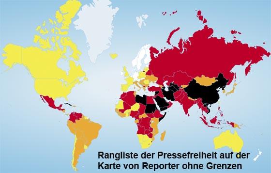 Karte Rangliste der Pressefreiheit