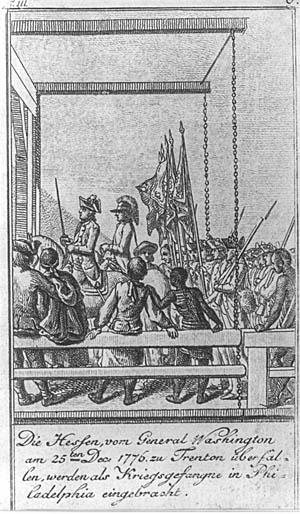 Gefangen genommene Hessiche Soladten währenddes amerkikanischen Unabhängigkeitskrieges in zeitgenössischer Darstellung