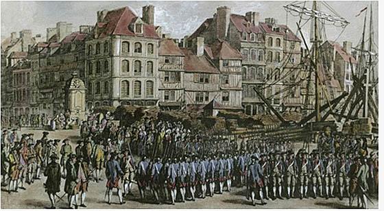 Hessischen Soldaten vor der Verschiffung zum einsatz in der Neuen Welt.