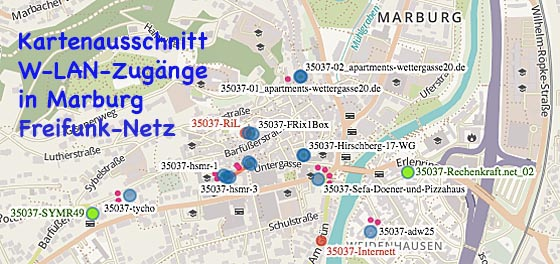 KarteW-LAN Marburg