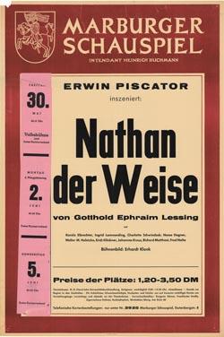Vier Gastinszenierungen brachte Erwin Piscator in Marburg auf die Bühne. Plakat Marburger Schauspiel