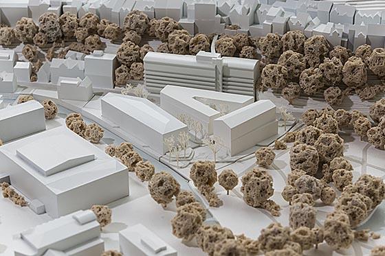 Modell des erstplatzierten Entwurfs des Büros Dichter aus Berlin für den Neubau des Deutschen Dokumentationszentrums für Kunstgeschichte – Bildarchiv Foto Marburg. Foto Thomas Scheidt