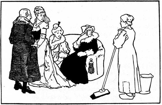 Zeichnung von Otto Ubbelohde als Illustration des Märchen vom Aschenputtel
