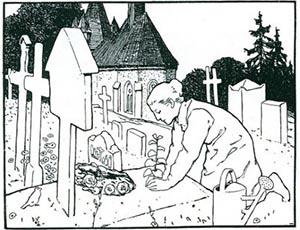 Eine Illustration von Otto Ubbelohde zum Aschenputtel-Märchen der Brüder Grimm zeigt die Mutter, die Aschenputtel am Grab beweint.