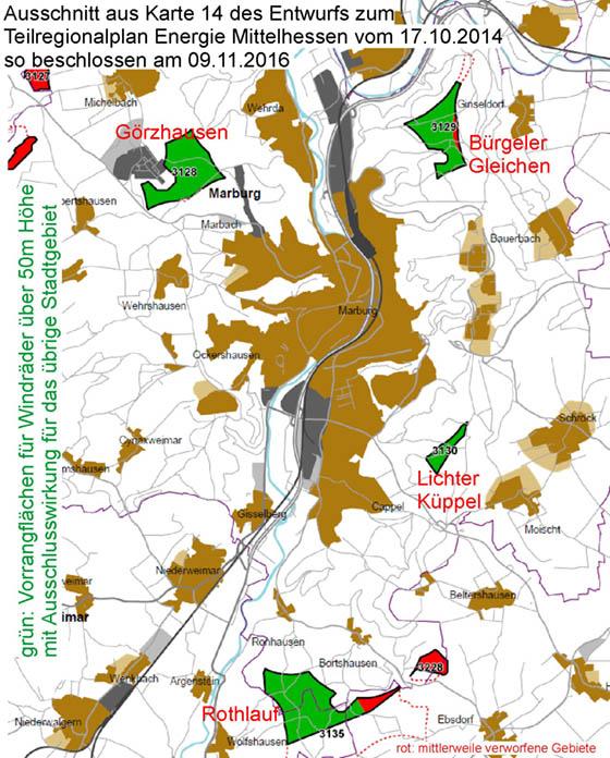 Ausschnitt Regionalplan Energie Mittelhessen, beschriftet.